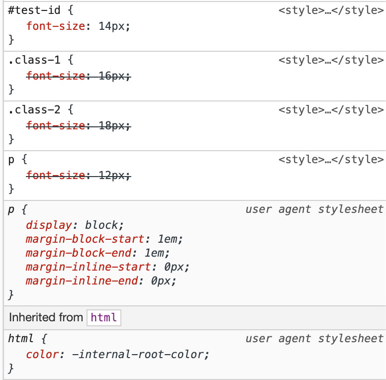 The chrome style inspector showing p, class-1 and class-2 font-size declarations struck through, and the id test-id selector overrides all three regardless of order